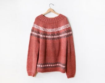 chunky nordic sweater, vintage wool sweater, oversized fair isle ski sweater