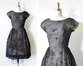 black floral dress, vintage 60s chiffon dress, black 60s party dress extra small