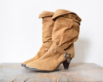vintage zodiac boots, slouchy suede boots, 80s cowgirl boots size 7.5