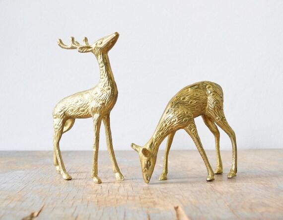 vintage brass deer figurines, pair of spotted brass deer