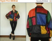 SUMMER SALE Vintage 80s Leather Color block Slouchy Batwing Hip hop Colorful Mondrian New wave Jacket S M