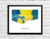 Santa Barbara California Art Map Print.  Choose your size and color.  Perfect for your favorite UC Santa Barbara Gaucho.
