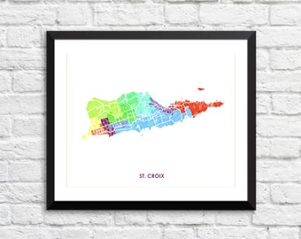St. Croix USVI Map Print.  Choose the Colors and Size.  Virgin Islands Art.