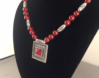 Red agate and Sterling Silver Pendant necklace