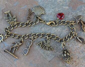 Antique Brass Aloha Hawaii Charm Bracelet- Shells, Surfer, Palm Trees, Flip Flop, Sunglasses - Beach Ocean Fun - Free Ship USA