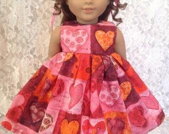 "Love Hearts * Doll Dress fits 15"" - 18"" American Girl or Bitty Baby 14"" Wellie Wishers 23"" My Twinn - your choice sewnbyrachel"