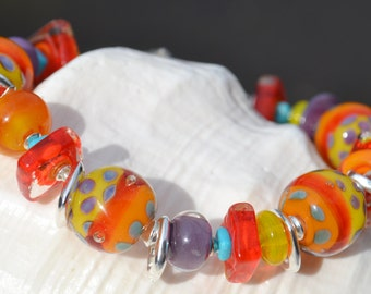 HOT STUFF-Handmade Lampwork and Sterling Silver Bracelet