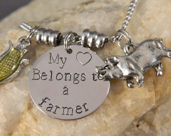 My Heart Belongs to a Farmer Handstamped Necklace with Corn and Pig charm