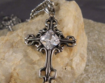 Large Fleur De Lis Stainless Steel Cross Necklace with CZ