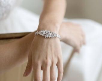 Wedding Bracelet, Cubic Zirconia Bracelet, Bridal Bracelet, Gold Bracelet, Rose Gold Bracelet