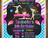 Gymnastic Birthday Invitation,Printable Gymnastics Invitation,Gymnastic Birthday,Gymnastics Birthday Printable