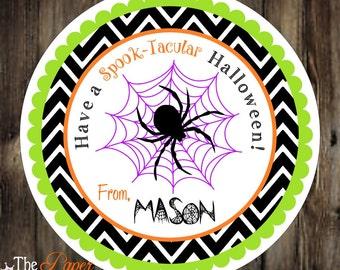 Halloween spider stickers, Printable Halloween Gift Tags, Halloween Favor Tags, Digital file