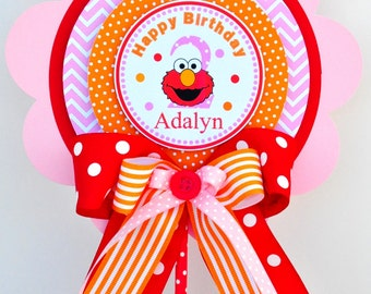 Elmo Centerpiece, Girl Elmo Birthday Party, Deluxe Party Centerpiece in Red, Light Pink and Orange