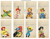 Retro Little Boys and Little Girls with their Library Cards Digital Tags Tags, Scrapbooking, Cards, Mini Albums, Journaling Notes 2 Sheets