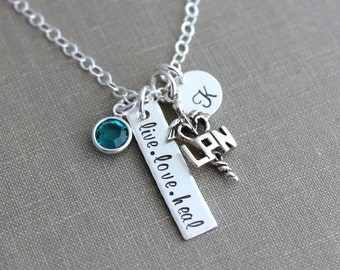 LPN Sterling silver nurse necklace, live love heal, with birthstone personalized with initial disc Nurses week Gift idea, Nurse Appreciation