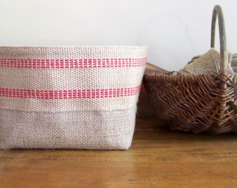 free shipping - red stripe basket - red jute - storage - organization - natural - gift basket