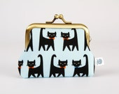 Metal frame change purse - Black cats with bowties on blue - Big mum / Kawaii japanese fabric / Light blue orange black kitties