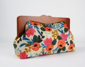 Clutch purse with wooden frame - Rosa floral - Cosmetic purse / Cotton and Steel / Rifle Paper Co. / Les Fleurs / Japanese fabric