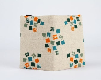 Fabric card holder - Hydrangea in teal and orange / grey orange blue / linen blend