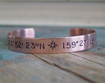 Latitude Longitude Bracelet,Copper Cuff,GPS Coordinates,Compass Rose,Hand Stamped,Location Jewelry,Personalized Gift,Cordinate Cuff Bracelet