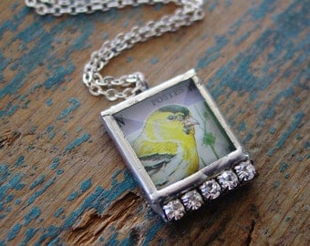 Yellow Bird Necklace, Stamp Necklace, Vintage Jewelry, Silver Necklace, Girlfriend Gift, Charm Necklace, Retro Necklace, Gift for Daughter