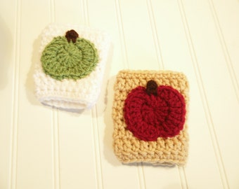 Apple Cup Cozy, Pumpkin Spice Latte Coffee Cozy, Handle, Warmer, Made to Order, Apple Cider