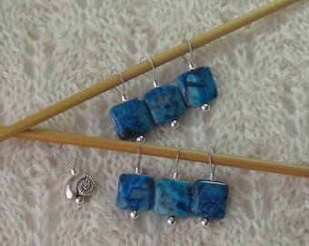 Crazy Lace Agate Blue - Knitting Stitch Markers - snag free loops - 12mm square stones and silver - set of 7 - two loop sizes available