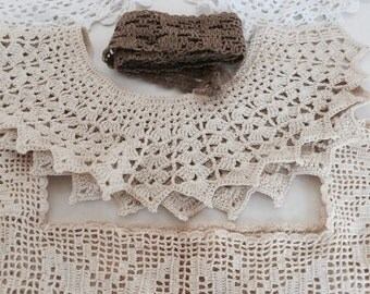 Reduced! Great Crochet Lace Trims & Collar