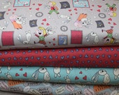 Fat Quarter set of 4 Knuffle Bunny Organic Cotton Fabrics from Mo Willems for Cloud 9 Fabrics