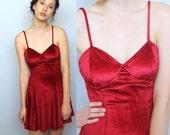 triple threat -- vintage 90s velvet little red dress XS/S