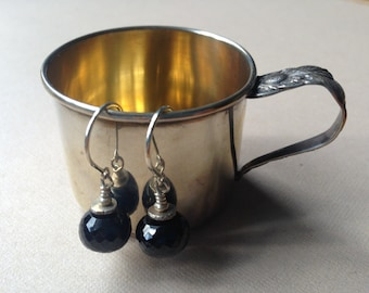 Black Spinel Gemstone Earrings- One of a Kind