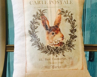 Vintage Bunny Rabbit Lapin Carte Postale Shabby Chic Pillow Cover with Pillow Form, Vintage Easter Throw Pillow, Cottage Cushion