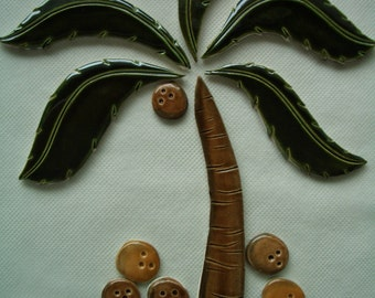 TWO -  PALM Tree, Coconuts - Ceramic Mosaic Tile Set