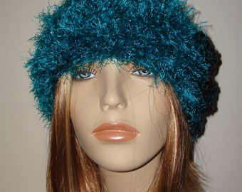 Hand Crochet Lagoon Teal Cloche Hat with a Sparkle Teal Fur Trim/Clearance/Winter Fashion/Women's Accessories/Teen Accessories/Winter Hat