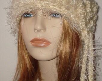 Hand Crochet Soft Cloche Hat with Novelty Fur Trim/Winter Accessories/Women's Accessories/Fall Fashion/Teen Accessories/Winter hat/Fall hat