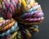 Happy Sheep, Chunky Yarn, HandSpun and Hand Painted Yarn, 100 yards