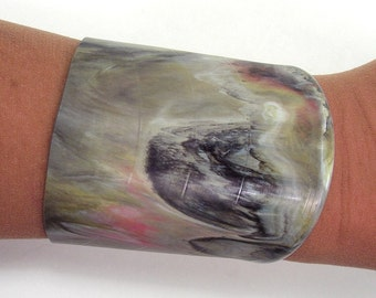 Vinyl Record Wrist Cuff Rare Marble Colored Tan, Black, Gray, White, Pink and Light Yellow Size Small