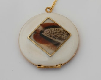 Real Feather Locket Necklace Jewelry Custom Feathers Geometric Brass Enamel White Gold Lariat Layer Necklaces Personalize Photo Pictures