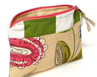 Green stripe with floral cosmetic bag, make-up bag, gadget bag One of a Kind