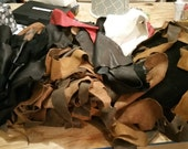 Leather Scrap Remnants, Upholstery Grade, soft leather by the Pound-LBTP005F