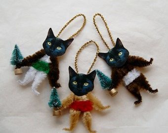 Cat Lover Gift, Christmas Ornaments, Black Cat Vintage Primitive StyleChenille, Christams Tree   (01)