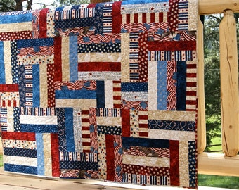 Quilt Patriotic Red White Blue Stars Stripes Flags Americana Lap Throw Picnic Scrappy Patchwork Land of the Free