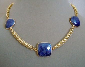 NEW MARKDOWN: Night Skies -- Sapphire and Gold Snake Chain Necklace