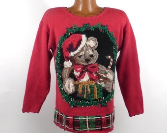 Ugly Christmas Sweater Vintage 1980s Tree  Holiday Tacky Xmas Party Women's