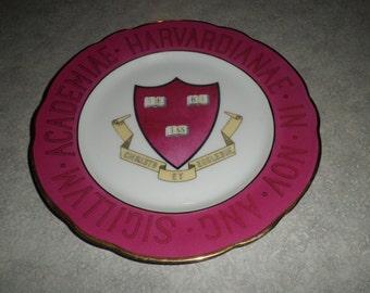 Harvard University emblem motto shield PLATE CT Wasser Germany porcelain, circa 1890's