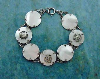 OOAK Handmade French Antique Vintage Mother of Pearl and Sterling Silver Notre Dame de Lourdes Souvenir Medals Panel Bracelet MOP