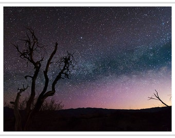 Death Valley National Park, Landscape Photography, Sunset Print, Milky Way, Starry Night, Night Sky, Digital Art Print, Silver Foil Print