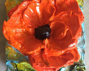 Red Poppy mini 2x2 Original Impasto Oil Painting by Paris Wyatt Llanso