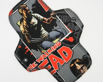"""8.5"""" Pantyliner, Every Day Liner Made with The Walking Dead Cotton Woven, Windpro Fleece, Cloth Menstrual Pad, MotherMoonPads Cloth Pad"""