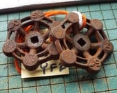 2 rusty valve handles, crusty rusted vintage garden valve knobs, hobby supply, steampunk art, XF5